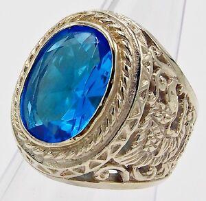 MEN RING BLUE TOPAZ SYN SILVER BRONZE GARUDA EAGLE ANTIQUE VINTAGE LOK SIZE 8.75