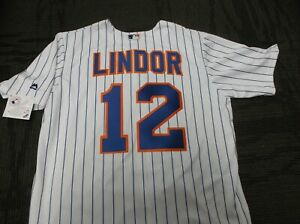 FRANCISCO LINDOR  #12 NY Mets Majestic Home Jersey PLUS  4 FREE VINTAGE CARDS
