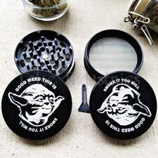 """63mm Herb Grinder 4 Piece Yoda Star Wars 420 Kief Catch 2.5"""" Large Tobacco Grind"""