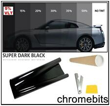 BLACK WINDOW TINT FILM AUTO CAR OFFICE TINTING SUPER DARK LIMO 5% 50X300CM