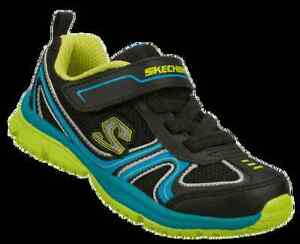 Skechers  Boys  Sneakers Black/Blue/Lime/Silver Toddlers Size 6