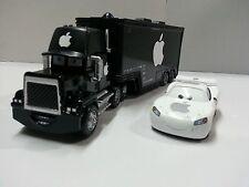 Disney Pixar Cars Black Apple Mack Racer's Truck & Jobs Toy Car 1:55 Loose New