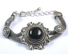 Retro Style Tibet Silver Turquoise Beads Gemstone Bracelet Bangle Charms Jewelry