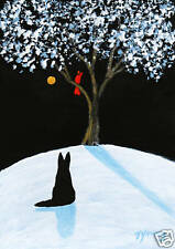 Black German Shepherd Dog Snow Folk Art PRINT Todd Young painting WINTER SONG