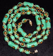 Venetian Murano Glass Bead Necklace Green Long Tubes Millefiori Italian 28 in
