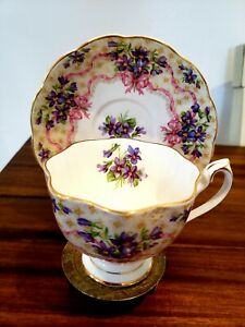 Queen anne Sweet violets bows pink ribbons Bone China cup and saucer