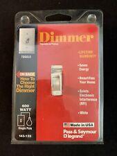 Pass & Seymour White Dimmer Light Switch 600W Single Pole 143-133