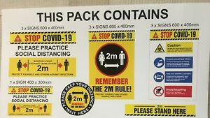 Health and Safety Sign Pack New Regs Warning 2 m Social Distance Floor Stickers