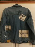 ZARA OVERSIZED EMBROIDERED STUDDED DENIM JACKET COAT S UK APP 10/12  BNWT