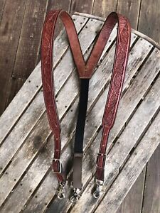 Men's Amish Made Leather SUSPENDERS, XL Acorn Oak Leaf Adjustable Chestnut Brown