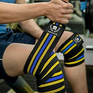 """MAVA 72"""" Knee Wraps for Cross Training Workout Compression Support Yellow/Blue"""