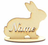 Personalised Rabbit with stencil cut Name on a stand, Wooden MDF Easter Gift