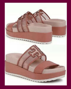 TORY BURCH INES MESH PLATFORM WEDGE SLIDE SANDAL LOGO BLUSH LEATHER SZ 6.5 $258