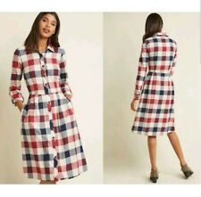 ModCloth Womens Large Dress Jam Girl Plaid Flannel Mixed Berry Button Up Pockets