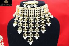 Indian Gold Tone Choker Necklace Earring Set White Pearl Bridal Jewelry