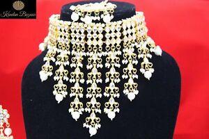 Indisch Goldfarben Halsband Ohrring Set Weiße Perle Braut Schmuck