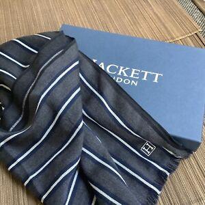 Hackett fine wool scarf charcoal/navy/ivory stripe, new, bixed