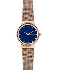Skagen Freja Blue Dial Rose Gold Stainless Steel Mesh Band Women's Watch SKW2740