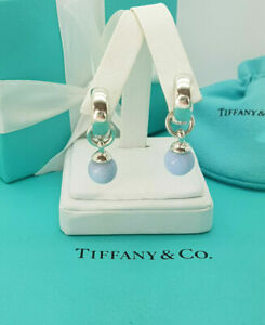 Tiffany & Co. RARE Silver Blue Lace Agate Fascination Clip on Dangle Earrings