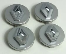 4 x 60mm ALLOY WHEEL HUB CENTER CAPS RENAULT GREY CHROME LOGO SET