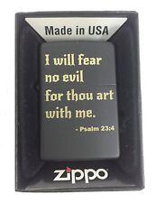 Zippo Custom Lighter  I Will Fear No Evil Bible Verse Psalm 23:4 Black Matte New