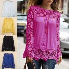 Damenmode Langarm Spitze Chiffon Shirt Häkeln Floral Bluse Lace Hemd