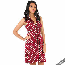 Womens Polka Dot Print Twist Knot Front V Neck Mini Swing Dress Party Summer Wine/white - Red Retro Spotted Maternity Plus Size 10