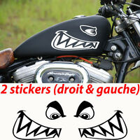 2 stickers autocollant dent de requin réservoir moto sportive custom shark decal