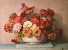 MAURICE DECAMPS (1892-1953) LARGE SIGNED FRENCH IMPRESSIONIST OIL FLOWERS VASE