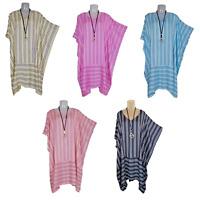 Summer Kaftan Striped Loose Style Tunic Top Boho One Size UK 16 18 20 22 24 26