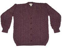 LL Bean Wool Cardigan Sweater Irish Cable Knit Chunky Fisherman Made In Ireland