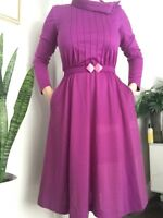 Vintage Purple Belted 1960's Kollection Ltd Secretary Dress S/M