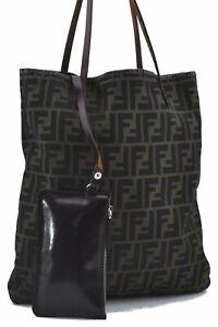 Authentic FENDI Zucca Shoulder Tote Bag Canvas Leather Brown E2672