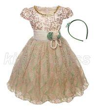 NEW Kid Flower Girl Pageant Formal Party Dress Headband Green Beige SZ 7-8 Z595D