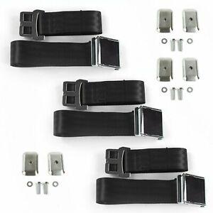 IH Scout 1961 - 1980 Airplane 2pt Black Lap Bench Seat Belt Kit - 3 Belts rat