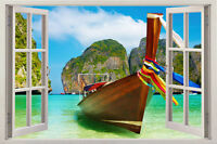 New Boat 3D view Window View Removable Vinyl Decal Home Decor Wall Art Sticker