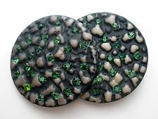 "Pair of Vintage Metal Buttons Two with Green Rhinestones Large 1.63"" Diameter"
