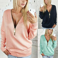Womens Long Sleeve Zip V Neck Baggy Blouse Casual Shirt Tops Pullover Sweatshirt