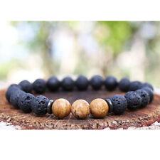 8mm Hommes Femmes Bracelet Naturel Pierre De Lave Perles Agate Jasper Bouddhiste