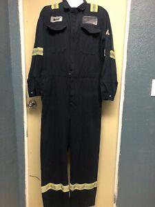 Bulwark FRC Flame Resistant Coveralls Navy Reflective Hi Vis Safety Stripes
