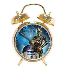 125329 STAR WARS GOLD C3PO AND R2D2 MUSICAL TWINBELL ALARM CLOCK