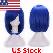US Women Short Straight Cosplay Royal Blue Wig Bob Style For Costume Masquerade
