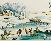 MCM VTG Christmas Card~Currier & Ives~American Winter Scene~River~Skating~Sled