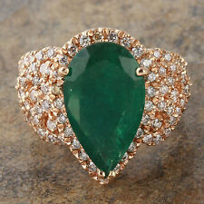 7.00Ct Natural Emerald & Diamond 14K Solid Rose Gold Ring