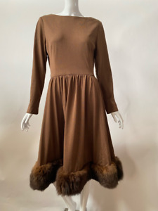 Romantica By Victor Costa Womens Fit & Flare Dress Brown Fur Trim Vintage 14