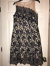London Times Cocktail Dress Size 12/fits Like 10. Worn Once! Navy And Tan $150