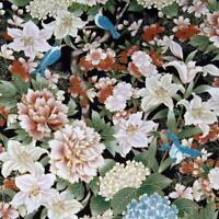 Blue Birds & Flowers, Ivory, Peach & Metallic Gold, A Hoffman Cotton BTHY or BTY