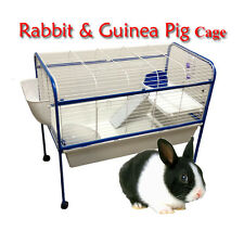 Large Metal Indoor Rabbit Guinea Pig Cage Hutch Stand With Bedroom 100x87x50cm