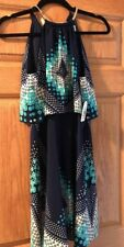 LOVELY JESSICA SIMPSON Navy Blue/Teal Green  Halter Dress NWT