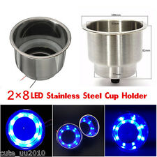 12V Blue Stainless Steel Cup Drink Holder For Marine Boat Car Truck Camper 8LED